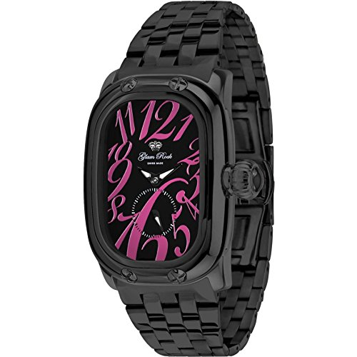 Glam Rock Women's Monogramme Black IP Steel Bracelet & Case Swiss Quartz Analog Watch GR72304N