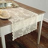 AT17 Tischläufer Deckchen Läufer Bestickt, Spitze Tischläufer Polyester Landhaus Shabby Chic - Stickerei - 50x150 - Elfenbein - 100% Polyester
