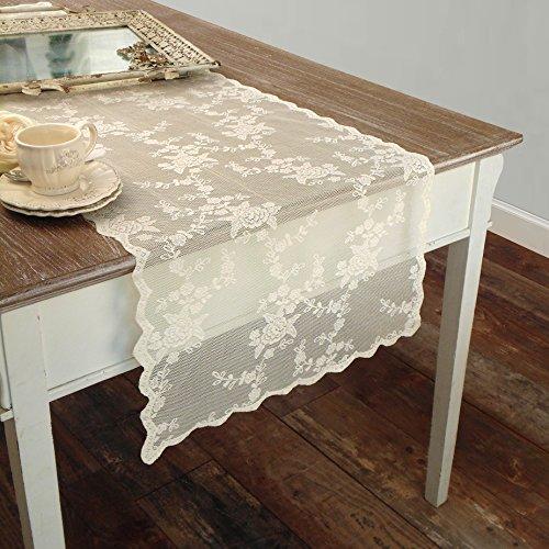 Tischläufer Deckchen Läufer Bestickt , Spitze Tischläufer Polyester Landhaus Shabby Chic - Stickerei - 50x150 - Elfenbein - 100% Polyester (Elfenbein Deckchen)