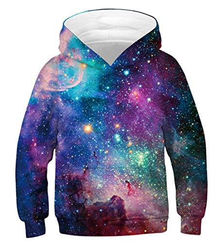 Idgreatim Kinder Mädchen Hoodies 3D Galaxy Jungen Pullover Sweatshirt Mit Kapuze Pullover mit Känguru-Taschen XL
