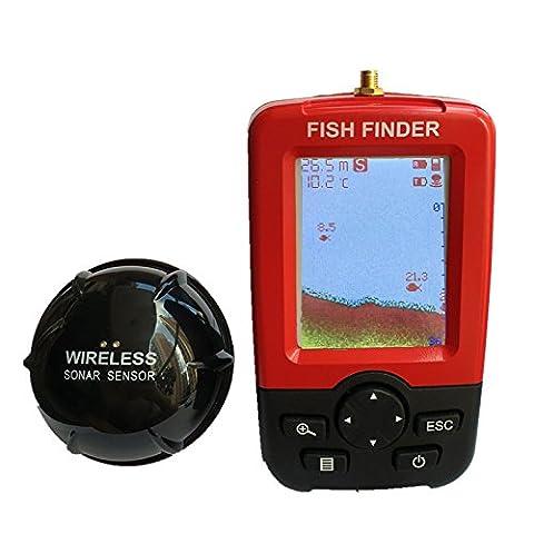 Nueva 2017 Portable Fish Finder, Sonar sensor Fishfinder (Red)