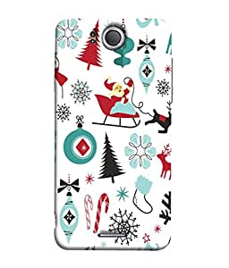 FUSON Designer Back Case Cover for InFocus M530 (Santaclaus New Year Igloo Snowflakes Candy Cane )