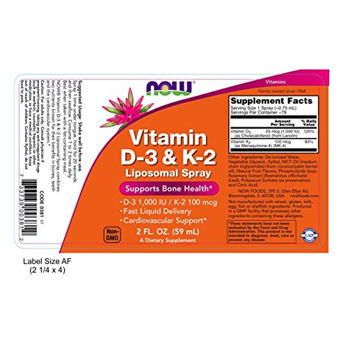 Now Foods, Vitamin D3 & K2, Liposomal-Spray 59ml, D3 1000IU, K2 100mcg