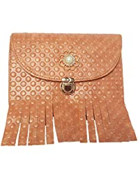 Exotic Collections Light Brown Color Printed PU Leather Front Of Premium Frills Design Sling Bag For Women's And...