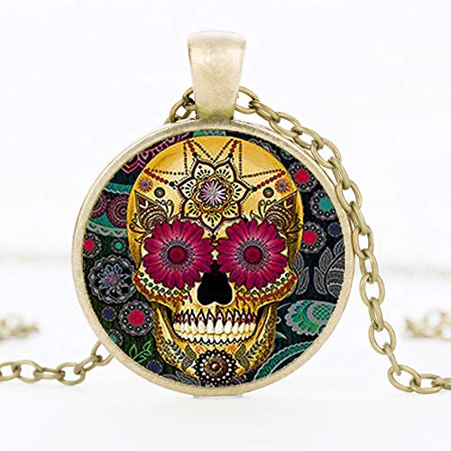 Hot Fashion Klassische Mexikanische Zucker Schädel Anhänger Halskette Silber Farbe Kette Tag Tot Kristall Schädel Halskette Männer Schmuck