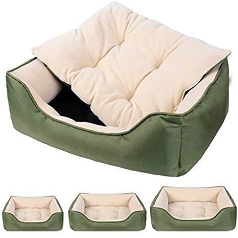 WOLTU HT2064gn1-c Oxford Cloth and Warm Pile Fabric Pet Cat Dog Bed House Dog Sleep Bed in 3 Sizes-L:65*50*20cm, Green Colour