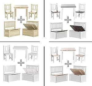 Impag Kindersitzgruppe aus europäischem Kiefer Massivholz 1 Tisch, 2 Stühle, 1 Truhenbank mit Deckelbremse Nila