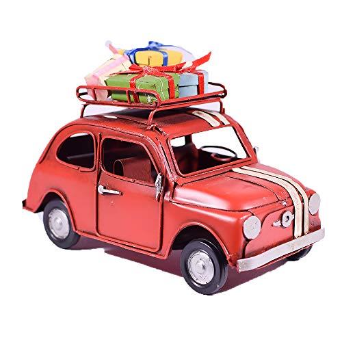 UniqueGift Rot Metall Replica 500Auto mit Geschenke-Retro Chic Decor Charm-Vintage Look Style Figur-Tischplatte Dekoration-500Auto Modell
