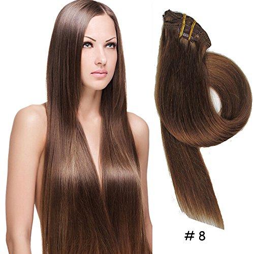 Clip-In-Extensions fuer komplette Haarverlaengerung - hochwertiges Remy-Echthaar -70g -50cm -7tlg 8# Esche Braun