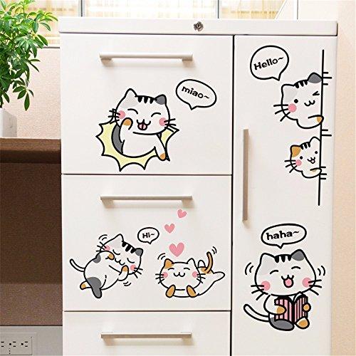 os Wandbilder Cartoon-Kinderzimmer Wachtel-Ei Katze dekorative Papier niedlichen Schlafzimmer Wohnzimmer lustige Aufkleber Kühlschrank Paste Herz Aufkleber, 60 * 90cm ()
