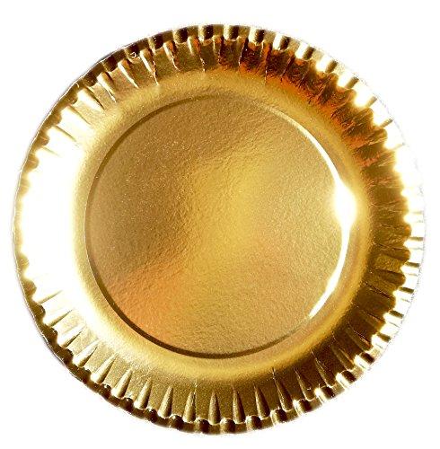 autooptimierer.de Goldener Partyteller stabile Pappteller Gold rund 23cm Einmalteller Einwegteller Hochzeit Party Grillfest Geburtstag Teller Jubiläum - Pappteller Basteln Für Kinder