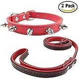 Newtensina Mode Hunde Halsband und Leine mit Nieten Punk Nieten Welpen Halsband mit Kontrast Farbe Leinen für kleine Hunde Katzen