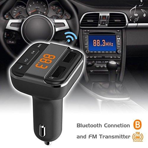 perbeat Bluetooth FM Transmitter Auto mit 2USB Ladekabel 3,4A Ausgang Anschlüsse, unterstützt USB-Stick Micro SD Karte mit Musik-Fernbedienung (schwarz) - 2