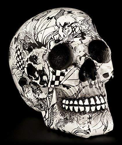 Schwarz-weißer Totenkopf mit Verzierungen | Figur Schädel Skull Totenschädel Deko Gothic (Verzierungen Und Schwarzen Weißen)