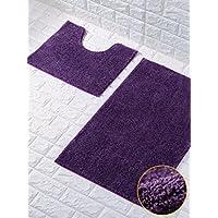 57d1318ba09b0 Goldstar® Purple Shiny Sparkling 2 Piece Bath Mat And Pedestal Mat set Non  Slip Absorbable