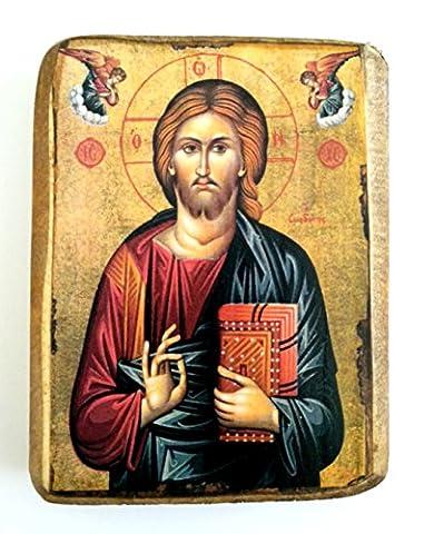 Wooden Greek Christian Orthodox Wood Icon of Jesus Christ /