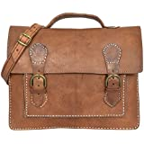 "Gusti Cuir nature ""Charlie"" sac bandoulière besace nouveau sac en cuir véritable sacoche business sac porté épaule notebook ordinateur portable 14"" iPad Air marron foncé V37"
