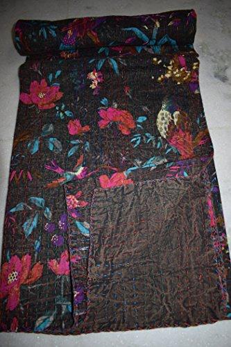 Tribal Asian Textiles Baumwolle Singel Decke, umdrehbar, Hochzeit Kantha Quilt Vintage Kantha Überwurf Schlafzimmer beddiing Blumenmuster Gudri Ralli Tagesdecke Kantha Quilt -