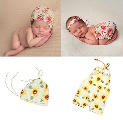 (Mummyhug Neugeborene Fotografie Requisiten Newborn Kostüm Vintage Floral Strampler mit Mütze Hut (Sonnenblume))