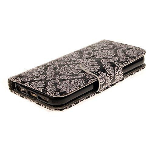 SpiritSun Etui Coque pour Apple iPhone 5 5S Mode PU Cuir Housse de Protection Pochette Folio Cas Cover Wallet Case à Rabat Magnétique Couverture Anti Choc Housse Fente Carte avec Stylet et Bouchon Ant Damas Fleur Noir