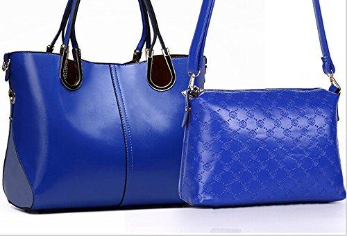 KISS GOLD (TM) Femmes Sacs Bandoulières en Cuir Synthétique 2 en 1 Sacs à Mains Bleu foncé