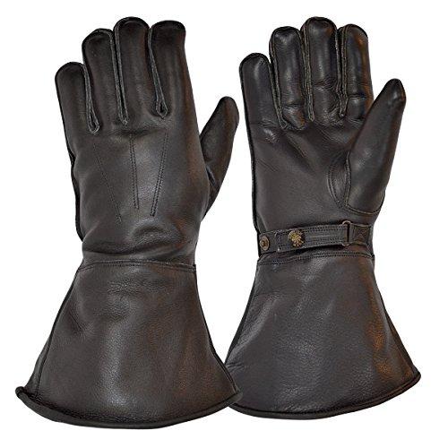 Goldtop Schwarz Leder Britischen Schafwolle Gefüttert Motorrad Versand Reiter Stulpen & Pilot Handschuhe (Motorräder Britische Vintage)