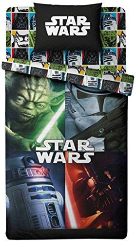 Star Wars de Disney 2070040 Housse de Couette 140 x 200 x 40 cm + Taie d'Oreiller 63 x 63 cm Polycoton Noir
