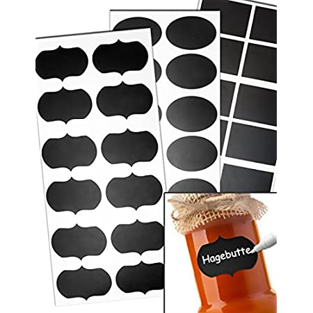HomeTools.eu® – 36 Etiketten selbstklebend für Einmach-Gläser Vorrats-Dosen, Aufkleber Beschriftung Tafel-Schildchen…