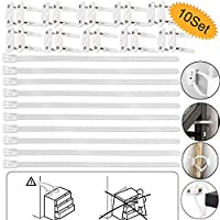 Furniture Anchors, bluesees 10 Sets Anti-tip Furniture Strap, Falling Furniture Prevention Device, Cabinet Wall Anchors Protect Toddler and Pet from Falling Furniture, Adjustable Child Safety Straps