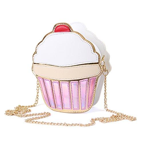 LUI SUI, Borsa a tracolla donna bianco Cupcake small Rosa