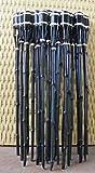 18 Stück Gartenfackeln Bambus Fackel Öllampen mit Sturmverschluss Dochtschutz (Schwarz, 60cm)