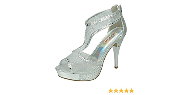 S516 Ladies High Heeled Diamante Platform Party Evening Shoes UK 3-8