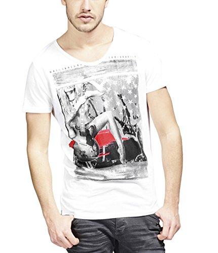 trueprodigy Casual Herren Marken T-Shirt mit Aufdruck, Oberteil Cool und Stylisch mit Rundhals (Kurzarm & Slim Fit), Shirt für Männer Bedruckt, Größe:L, Farben:Weiß
