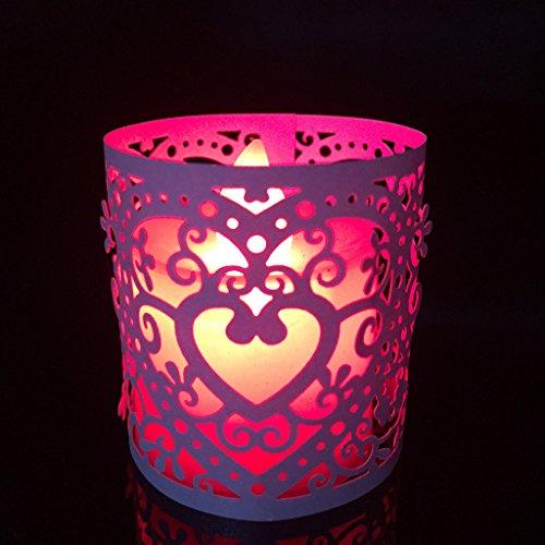 6pcs Corazon Llevado Los Titulares De Luz De Te De La Boda Decoracion De Navidad De Color Purpura