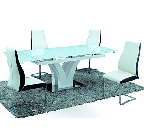 Sararreda Table Extensible en Bois laqué Blanc pour Cuisine Salon Bureau
