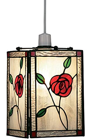 Marco Tielle Rose Tiffany Stained Glass Pendant Light Shade(non