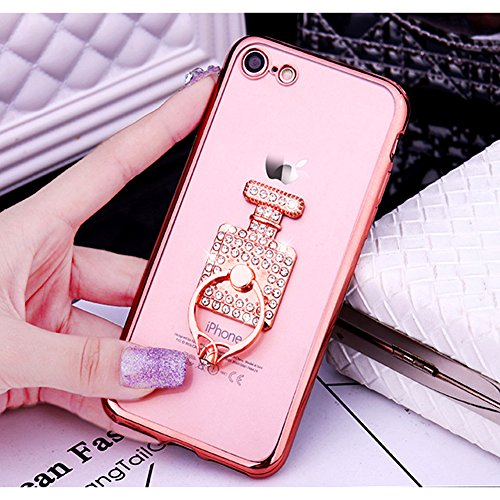 Custodia iPhone 7 Glitter, iPhone 7 Cover Silicone, SainCat Cover per iPhone 7 Custodia Silicone Morbido, Custodia Bling Glitter Strass Diamante 3D Design Ultra Slim Trasparente Silicone Case Ultra So Rose Gold #2