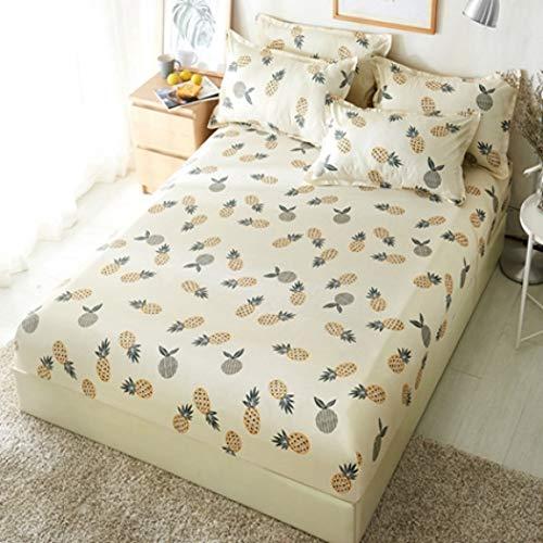 NIKIMI 1 stücke Polyester Gedruckt Bettlaken Weiß Gelb Blätter Bettwäsche Spannbetttücher Matratzenbezug Tagesdecken Mit Gummiband Bettlaken (Grau Gelb Krippe Bettwäsche)