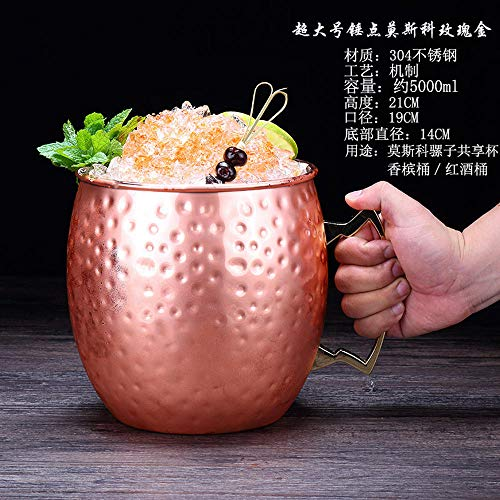 Velliceasay Rose Gold Metal Cocktail Glass Moscow Mule Champagne Bucket Ice Bucket, Beverage Cooler Summer Pool Beach Party Supplies Ornaments, 5000ml Super Hammer Cup