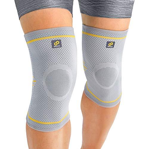 BRACOO elastische Kniebandagen (1 Paar) für Damen & Herren | Kompression Knieschoner für Sport & Alltag | Fulcrum Serie | KE91 | S