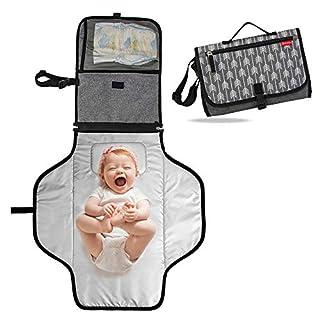 Lekebebay Portable Nappy Changing Mat Built-in Head Cushion - Waterproof Travel Diaper Changing Pad, Arrow Print, Grey
