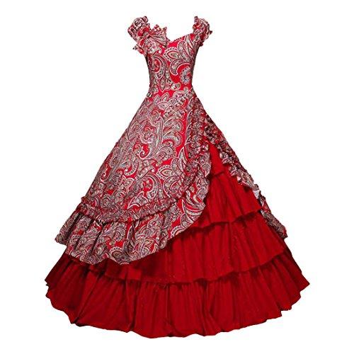 Partiss Damen Viktorianischen Buergerkrieg Kostuem Southern Belle Floral Ballkleid Kleid,M,Red