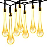 Solar Fairy Lights 30LED 20ft, Oak Leaf Waterproof Outdoor Garden String Light Raindrop lights for Outdoor, Patio, Tree, Yard Decoration - Warm White