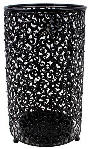 Sf savino filippo portaombrelli ombrello contenitore diam.24 cm in ferro e metallo antiruggine rotondo nero con decori intagliati da ingresso casa ufficio locale con vaschetta raccogli acqua