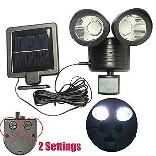 Solar-LED-Leuchte mit Bewegungssensor, 2 LEDs, mit 2 Einstellungen, wiederaufladbarer Akku, Schwarz