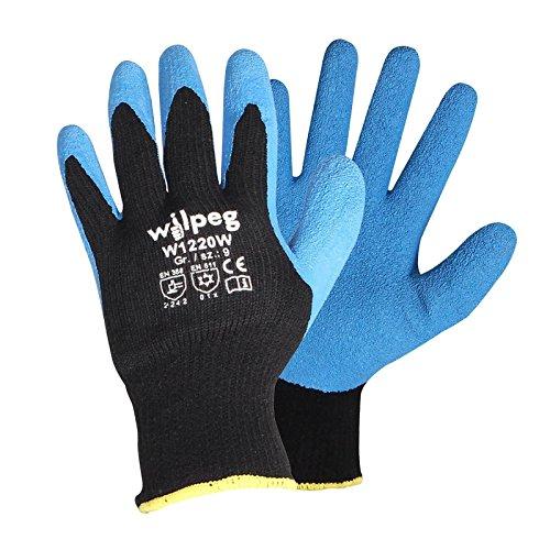 Wilpeg W1220W Kälteschutz-Handschuhe - Strickhandschuhe Latex Thermo, der warme Winter-Handschuh - Arbeitshandschuh wasserabweisend, Größe:9 (L)