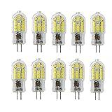 OUGEER 10 Stück Energiesparende G4 3W LED Birne, 30 SMD 2835,kaltweiß 6000K, 300lm, AC 220-240V LED-Lampen Ersatz 30W Halogenlampe