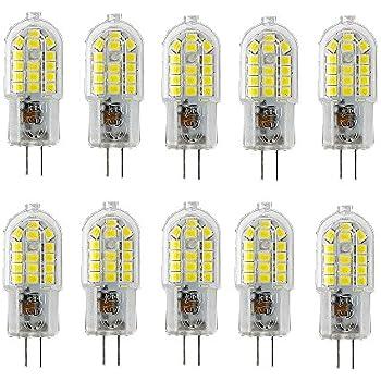 OUGEER Pack de 10 Bombillas LED de Bajo Consumo G4 3W,30 SMD 2835,luz Blanca Frio 6000K, 300 LM AC220-240V, Bombillas LED Lámparas G4