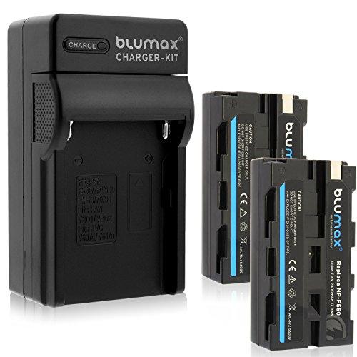 Blumax 2X Akku NP-F550 2400mAh + Ladegerät NPF550 Charger NP-F970 NP-F960 NP-F750 -