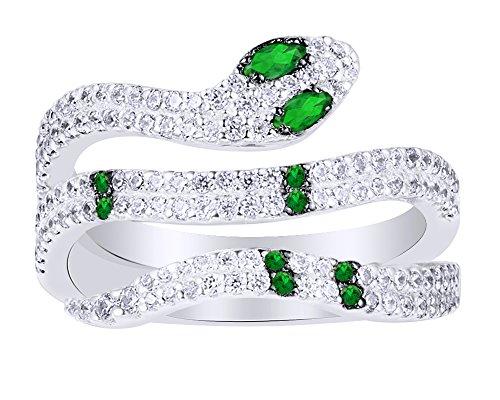 Wishrocks colore smeraldo con zircone serpente anello in oro 18ct su argento sterling e argento placcato oro bianco 18 ct, 13,5, colore: white, cod. uk-ap18485-emd-wsl-n 1/2